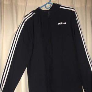 Adidas 3 Stripe Windbreaker w/ Hood size medium